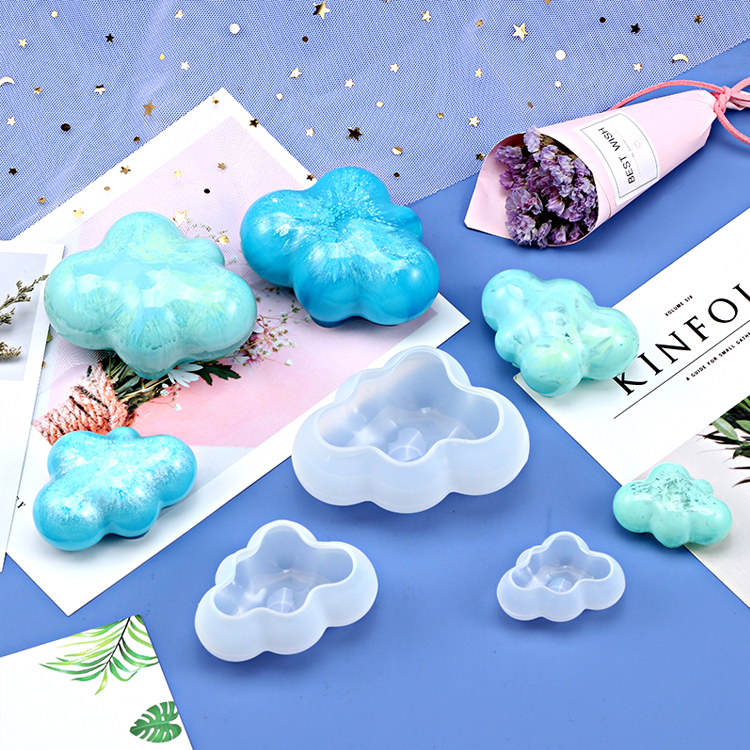 <strong>D120</strong> 3d chocolate mould sugar paste mold for Flaky clouds Hand-made Crystal Drop Adhesive Decorative Mold Cloud car decorations