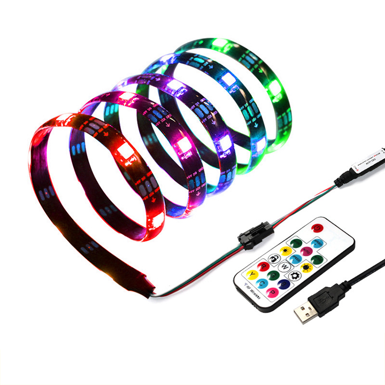 1M 2M waterpoof IP65 pixel <strong>led</strong> ws2812 programmable <strong>light</strong> strip full color 5V <strong>lights</strong> <strong>led</strong> 17 keys