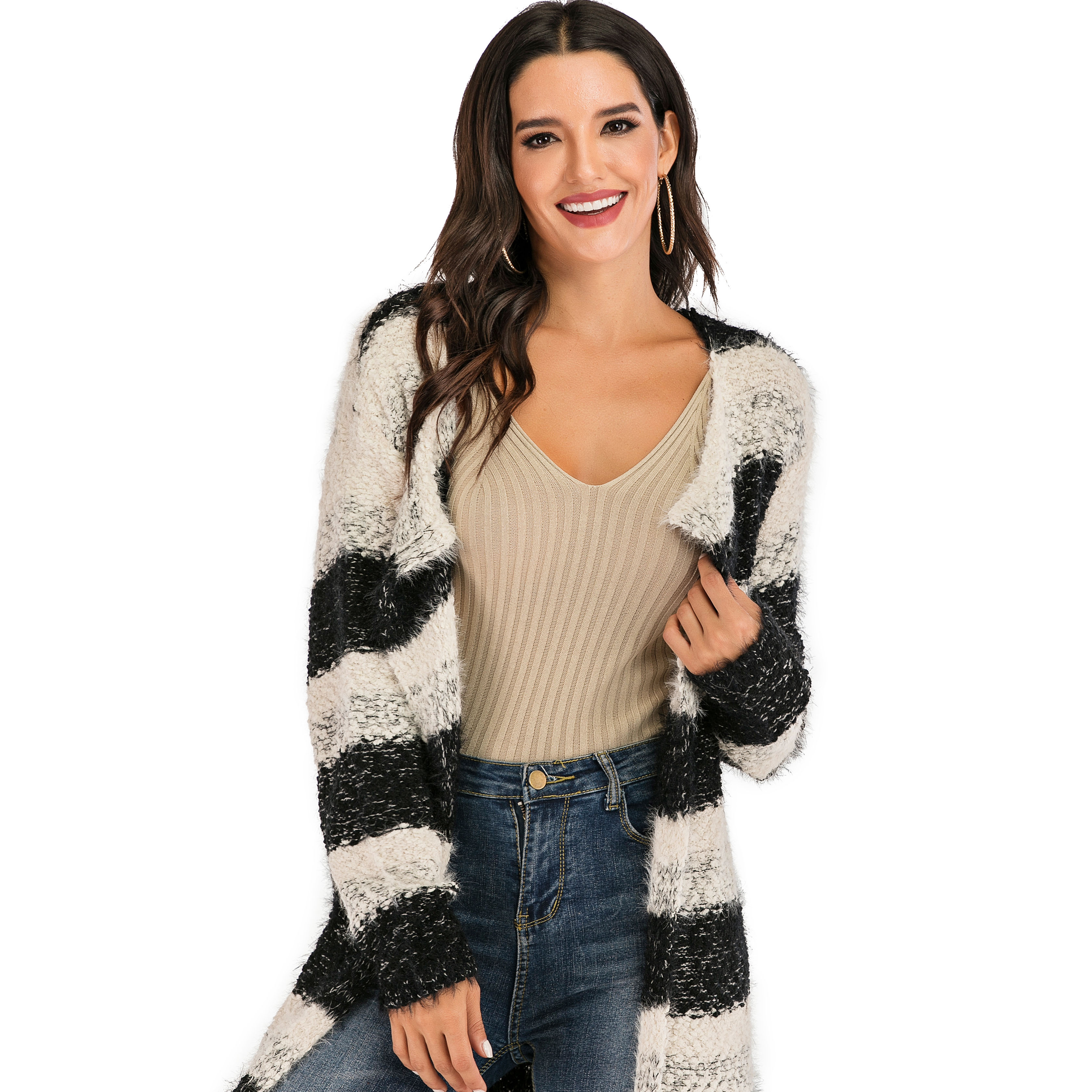New Style Women's Open Front Black and White Striped Sweater Long Section Knit Cardigan <strong>Coat</strong>