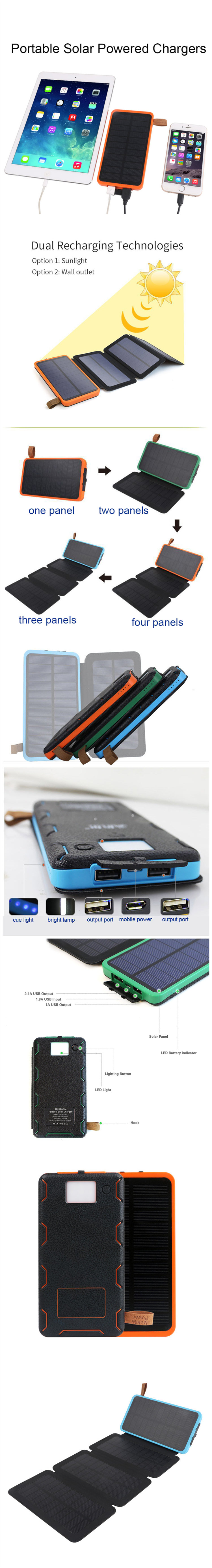 Dual recharging 10000mah Camping Cell Phone Mobile Portable Power Bank solar Panel Usb Foldable Solar Charger