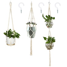 OurWarm Handmade 100% Cotton Rope 4 Legs Flowerpot Holder Macrame Plant Hanger Hanging Planter for <strong>Wall</strong> <strong>Decoration</strong>