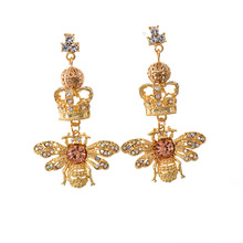 2020 Elva jewelry New Trendy Big Large Gold Plated Crystal Diamond Crown bee diamond punk <strong>Earrings</strong>