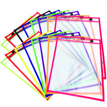 Assorted Colors 9 x 12 Inches 20 Pockets Per Pack Reusable School Office Assorted Colors Dry Erase Pocket Sleeves