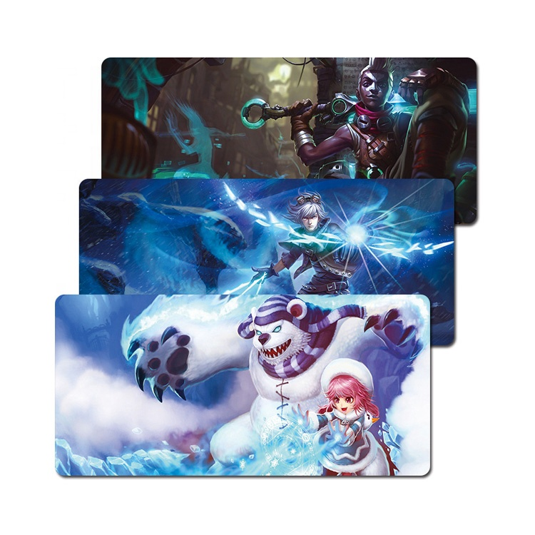 Hot sale black cartoon LOL game pad custom mouse mat long mousepad