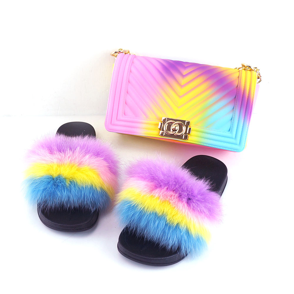 2020 hot <strong>saling</strong> Rainbow color Jelly Woman Crossbody Purse match Slides Single Shoulder Bag With Fox Fur Slipper Set