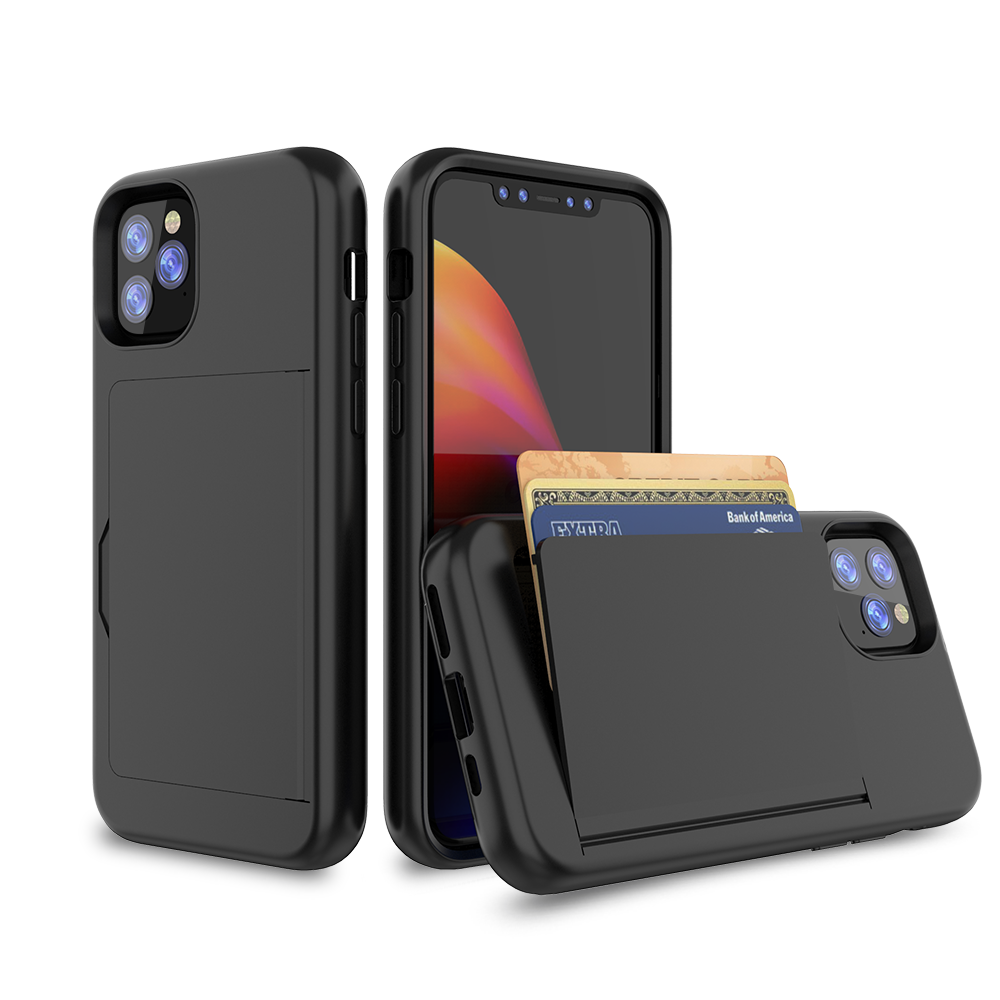 2019 Ultra thin Shockproof TPU PC wallet cellphone case for iPhone 11 6.1 inch credit card slot holder purse mobile phone case
