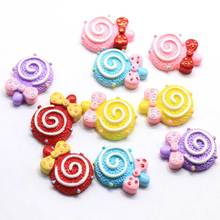 Colorful Beautiful Cute Flat Back Lollipop Resin Beads Bowknot Attached for Slime Toys <strong>Fridge</strong> Phone Stickers