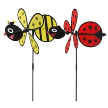 Colorful bee cartoon kids toy windmill Wholesale indoor and outdoor decorative set