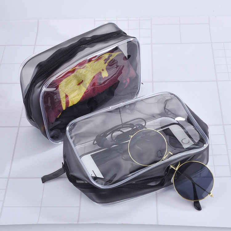 Custom logo print waterproof transparent large capacity zipper pvc cosmetic bag