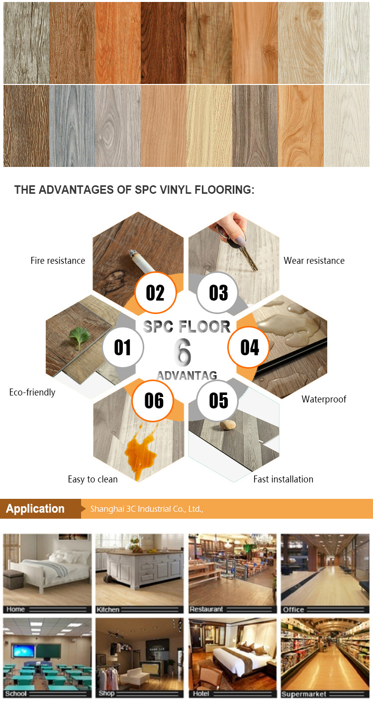 Rigid Core Luxury Vinyl Planks SPC Vinilic Floor With Click