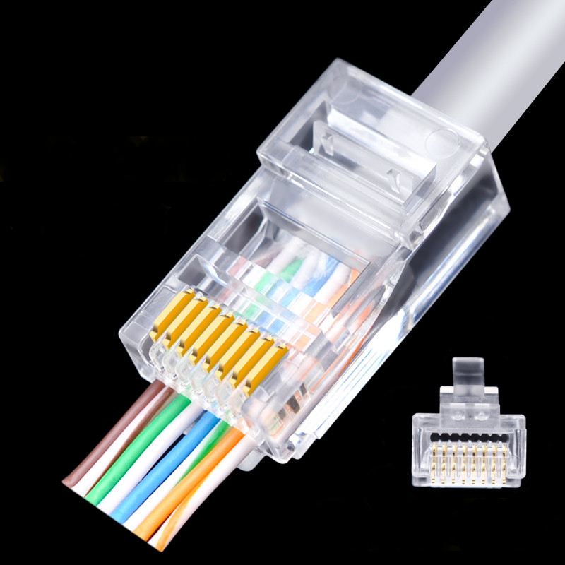 Networking plug connector Cat6 through <strong>hole</strong> RJ45