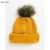 KY wholesale winter Ribbed finish Turn-up brim knit beanie hat with faux fur pom pom in mustard