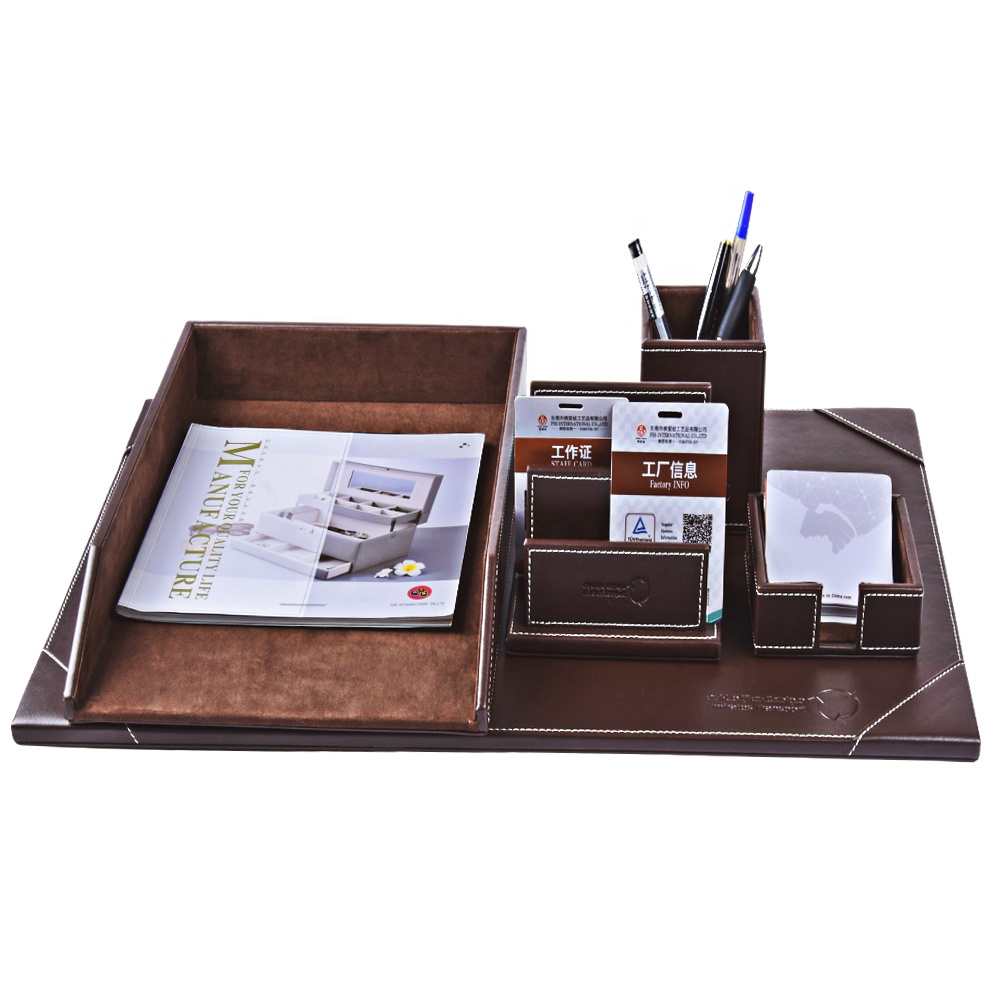 Luxury Personal Office Stationery Desk Sets Leather Desktop