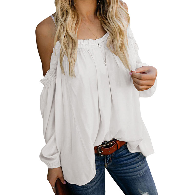 Women Off-Shoulder Ruffled Long Sleeve Pure Colour Casual Blouse
