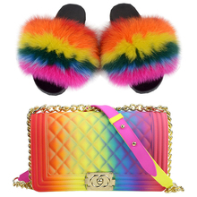 2019 New Arrivals Rainbow Color Fur Slides Slippers And Cross-body Bag Set