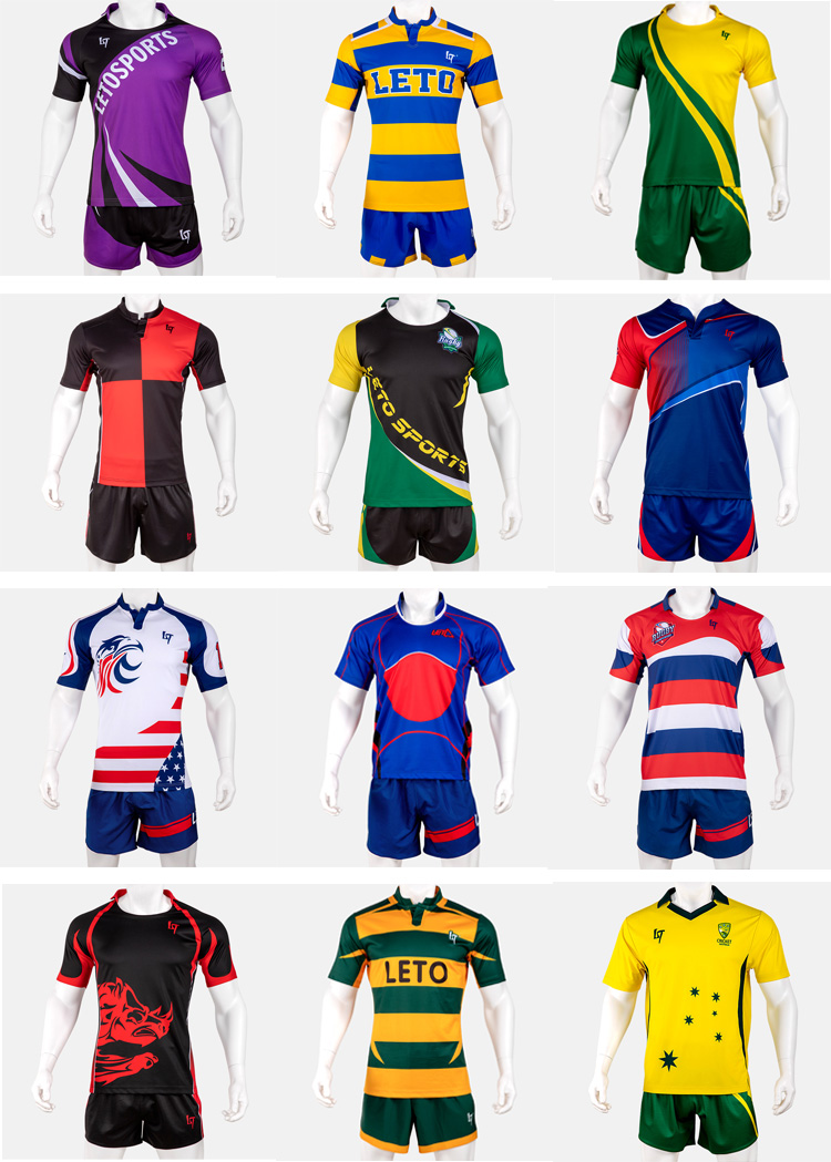 Men Wear Design Uniform Sublimation Rugby Shirt Sports Jersey Kits