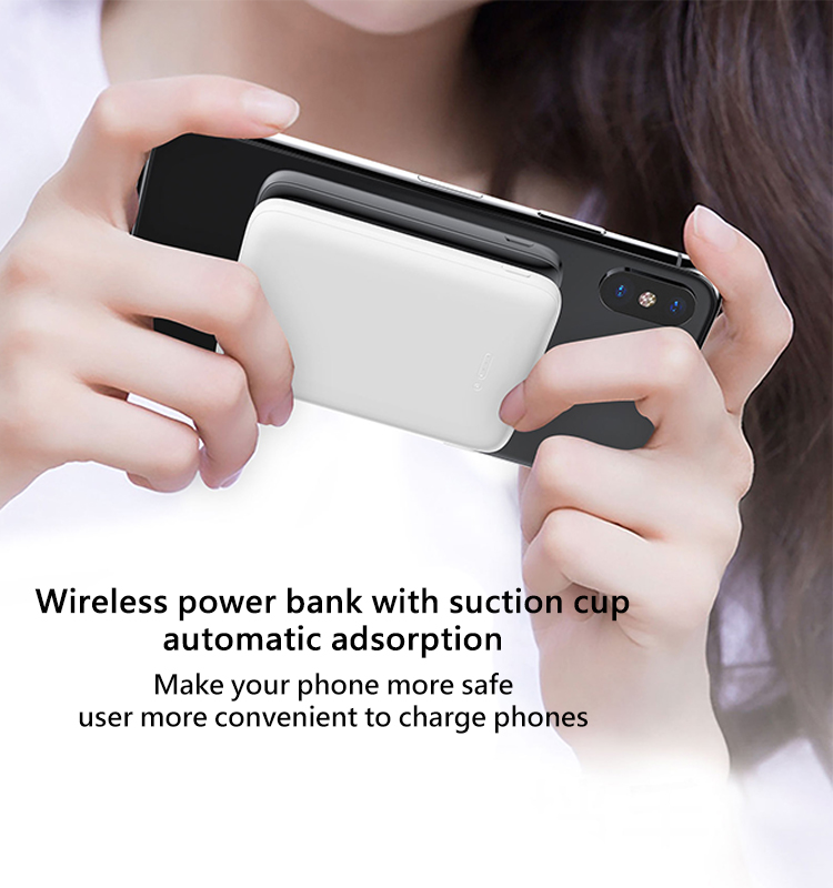 Latest Suction Wireless Power Bank 5000mAh Mini Wireless Charger Power Bank Promotion