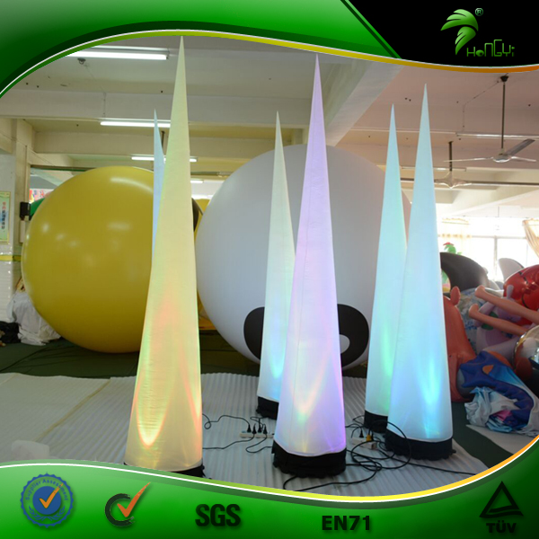 Colorful Events Decorations Inflatable Horn Shape Lighting Customized  Inflatable Light Cone