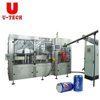 Fully Automatic Gas Beverage Can Glass Bottle Beer Ginger Sealing Filling Canning Equipment Machine