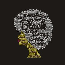 <strong>Crystal</strong> Bling Custom Black Afro rhinestone heat transfer designs Wholesaler