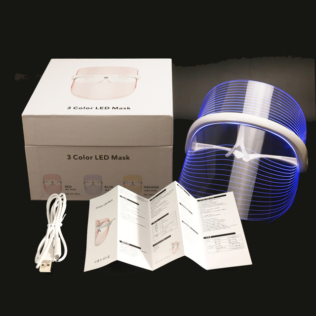 Portable USB Rechargeable <strong>Led</strong> light therapy mask professional beauty salon equipment 3 color <strong>led</strong> light therapy mask