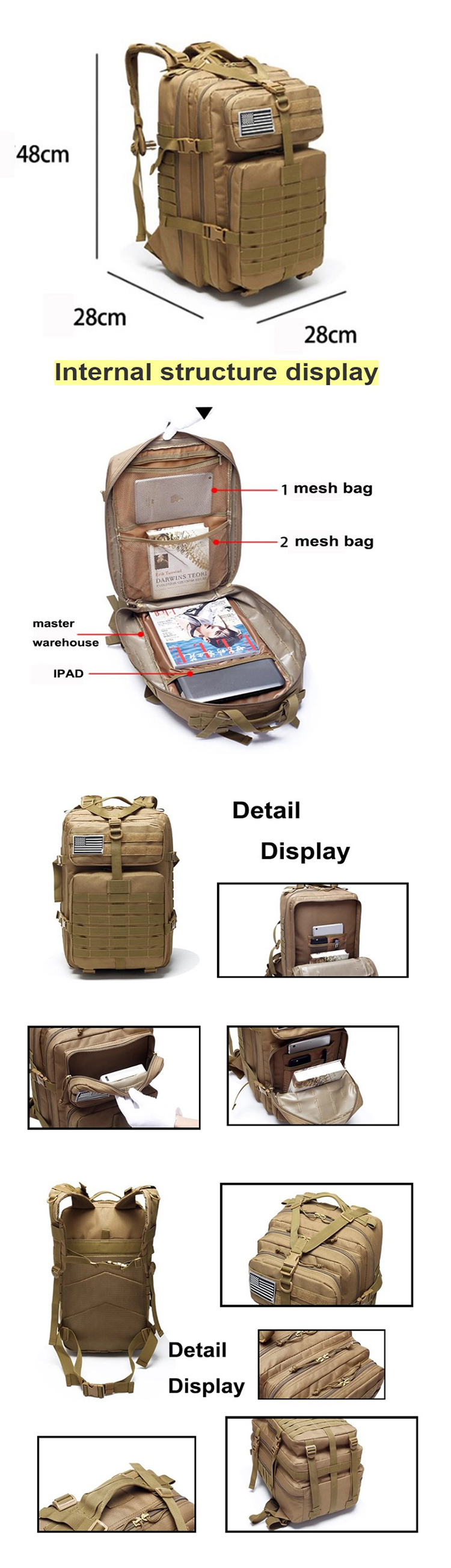 Multifunction Travel Military Backpack Tactical Bag Military combat backpack