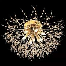 LED Crystal Chandeliers Firework Hanging Ceiling Light Gold finish for bedroom Modern Pendant Lighting