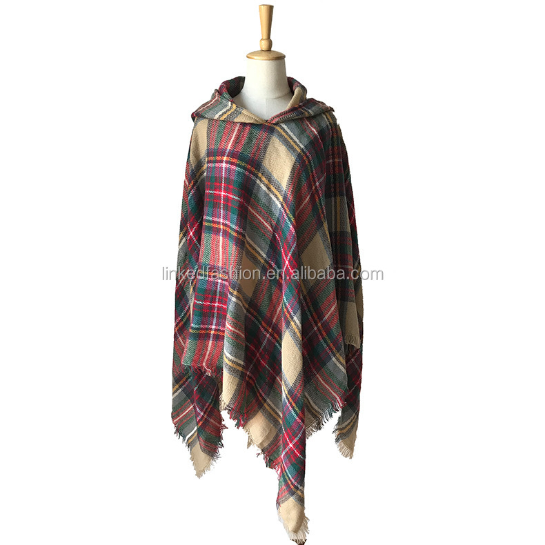 2019 new fashion autumn winter warm wool plaid blanket scarf for shawl with cape black and white