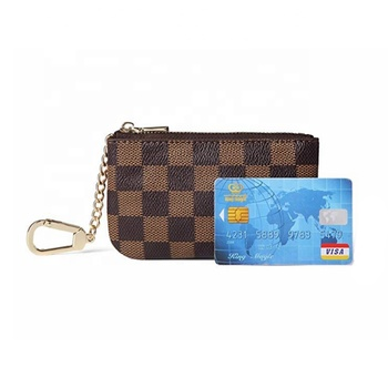High-quality handmade Luxury Zip Checkered Key Chain pouch | PU Vegan Leather Mini Coin Purse Wallet with clasp wholesale