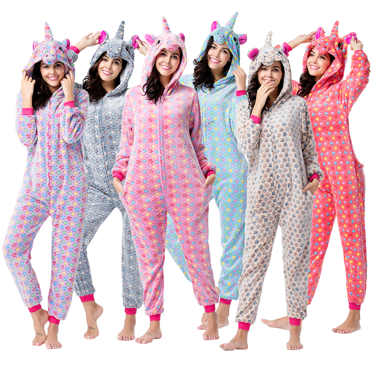 wholesale adult women pajamas custom uniocrn onesie pajamas flannel adult onesie pyjamas