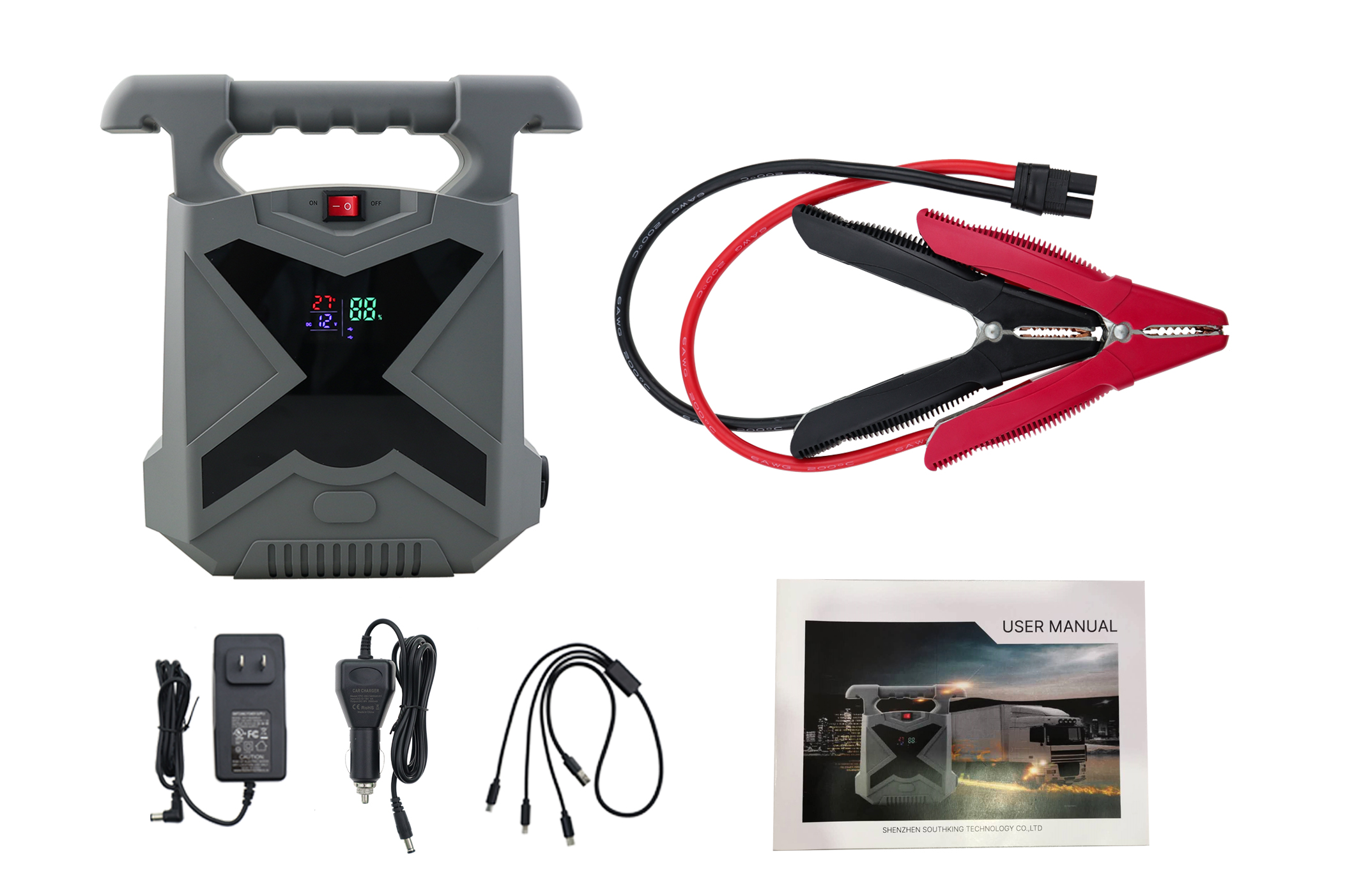 High Capacity 2500A Peak 24V 42000MAH Truck Battery Car Jump Starter
