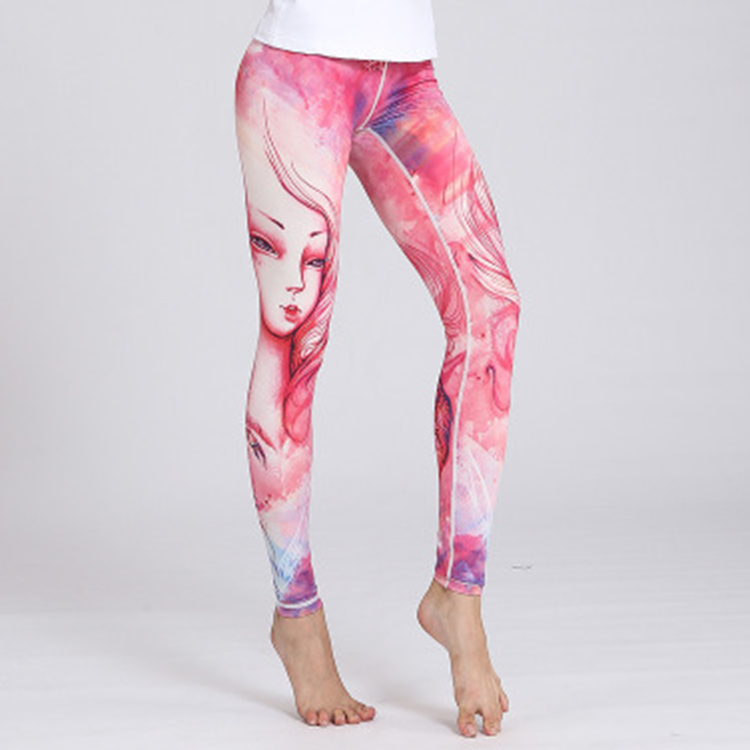 Hot sale sexy printed sports fitness leggings quick-drying stretch sports fitness yoga leggings womens