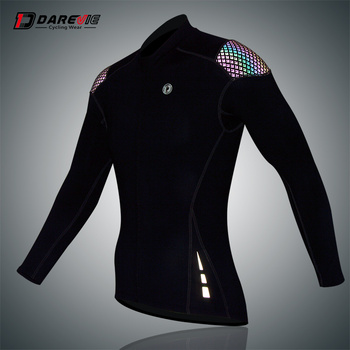 Darevie Reflective  Breathable Cycling Long Sleeve Jersey with 2 Mesh Back Pockets Rainbow Reflective Shoulders  cycling Jersey