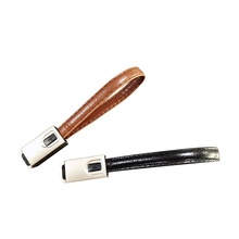 Fashion Beauty 20cm Length Metal Shell Leather Keychain Double Sided USB C Data Cable 2 in <strong>1</strong>
