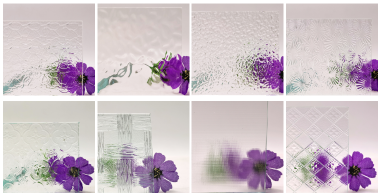 China Nashiji Hibiscus Floral Flor clear patterned building glass price