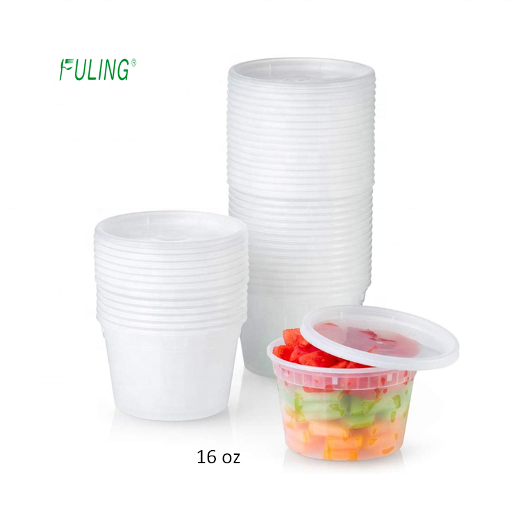 <strong>PP</strong> round hot noodle soup deli container packing cups 16oz plastic freezer safe food storage containers with air tight lids