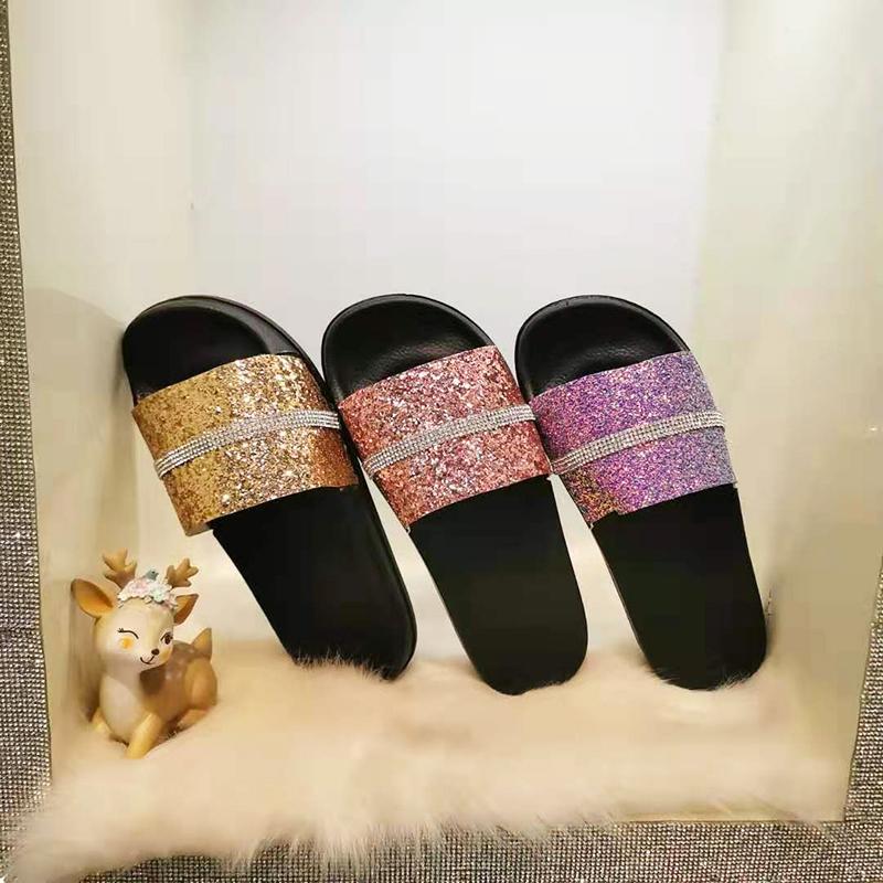 2020 Summer Glitter  PVC Strap Bling  Injection Slipper  Popular Lady sandal