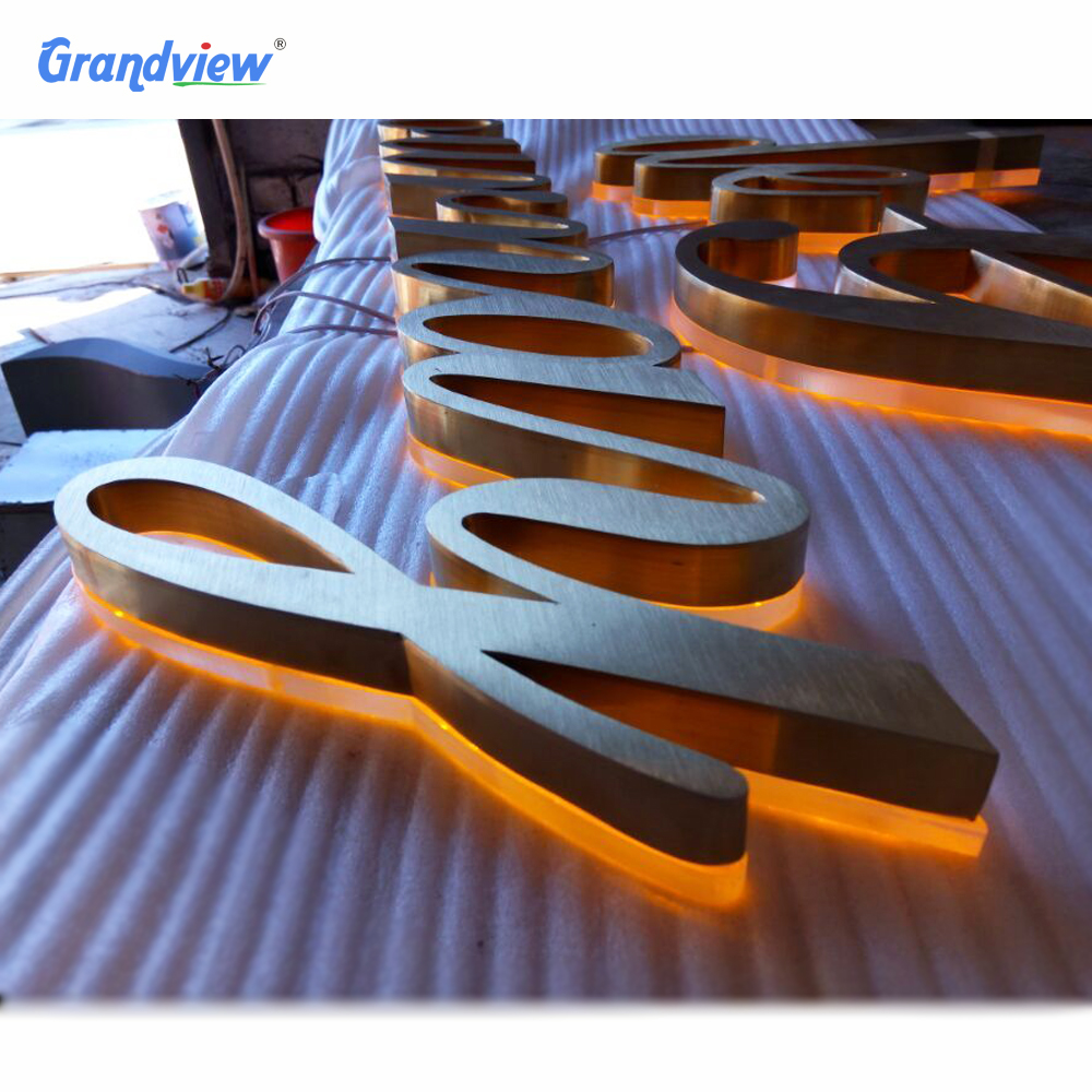 LED gold metal letter steel <strong>signs</strong> backlit led channel letters sign for front store