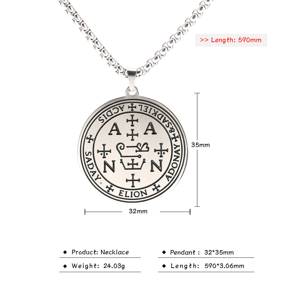 MAG031 Nordic Amulet Religious Symbol Greek Letter Stainless Steel Pendant Fashion Viking Style Stainless Steel Letter Necklace