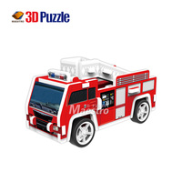 Colorful DIY mini Fire Engine model EPS foam toy puzzle car for kids