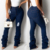 Stacked jeans trousers classic pantalones custom high waisted denim distressed ladies stacked jeans women