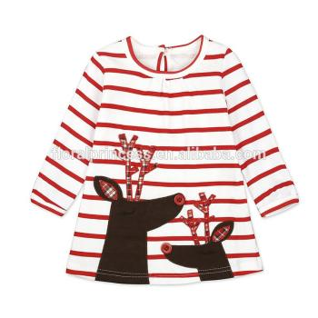 1-6 Years Old Children Frocks Designs 2017 Christmas Kids Baby Girl Winter Red Striped Dress Santa Claus Print Dresses