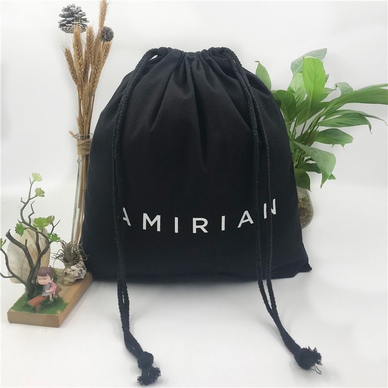 custom logo print black dust cotton fabric gift canvas drawstring bag for clothes