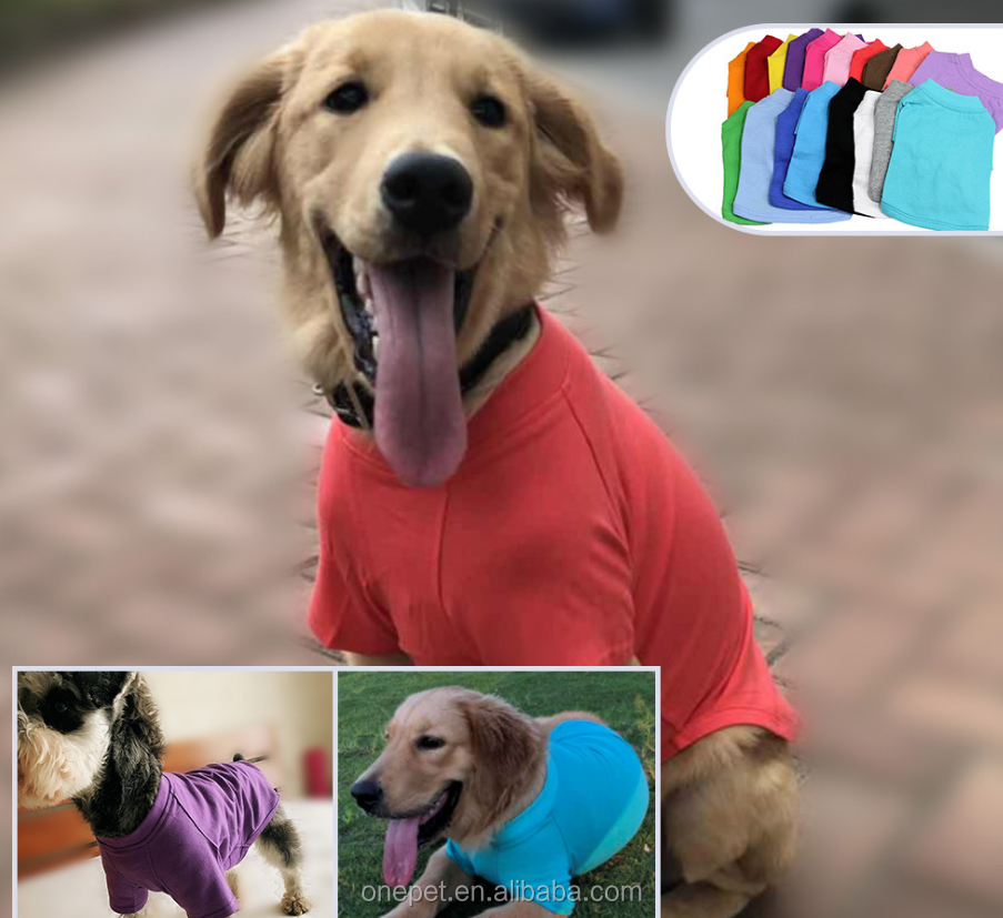 Pet apparel & accessories products wholesale summer breathe and cool style plain color blank dog t shirt