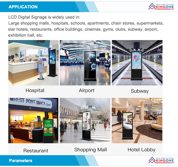 43 inch indoor floor standing interactive LCD digital signage advertising players