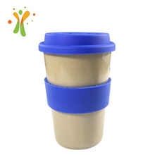 Simple design rice husk 16 oz blue coffee mug wholesale