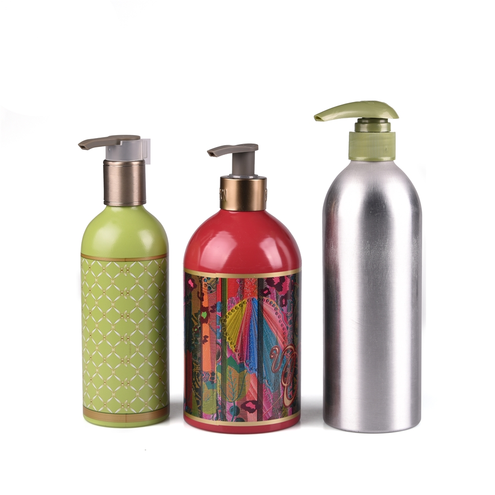 50ml 100ml 200ml 300ml 500ml 320oz silk printing shiny fragrance aluminium lotion pump <strong>bottles</strong> with metal clip for body spray