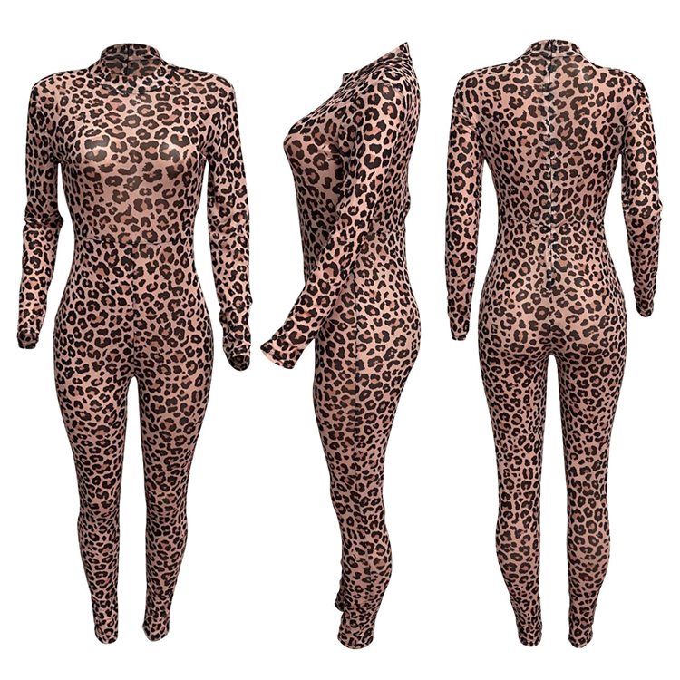 Best design casual fashion perspective leopard print Jump Suit Bodycon Sexy Women One Piece Jumpsuits And Rompers For Woman