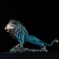 Decoration animal lion statue customized brass ornament lion sculpture