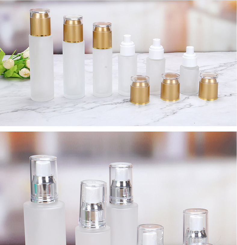 Reusable 20 30 40 50 60 80 100 120ml Empty Glass Lotion Bottle With Silver Gold Pump Sprayer
